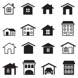 Σπίτι, συγκυριαρχία, πύργος, εικονίδια διαμερισμάτων καθορισμένα Στοκ φωτογραφίες με δικαίωμα ελεύθερης χρήσης