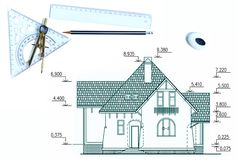 σπίτι σχεδίων Στοκ εικόνες με δικαίωμα ελεύθερης χρήσης