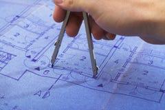 σπίτι σχεδιαγραμμάτων αρχιτεκτονικής στοκ φωτογραφία με δικαίωμα ελεύθερης χρήσης