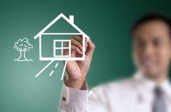 Σπίτι σχεδίων χεριών Στοκ εικόνα με δικαίωμα ελεύθερης χρήσης