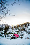 Σπίτι τοπίων χιονιού στοκ φωτογραφία
