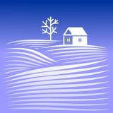 Σπίτι το χειμερινό βράδυ Στοκ εικόνα με δικαίωμα ελεύθερης χρήσης