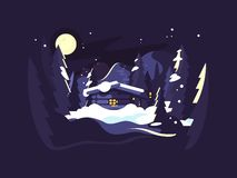 Σπίτι το χειμώνα ξύλων διανυσματική απεικόνιση
