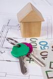 Σπίτι των ξύλινων φραγμών, των κλειδιών και των χρημάτων στιλβωτικής ουσίας στο σχέδιο οικοδόμησης, έννοια σπιτιών κτηρίου Στοκ Εικόνα