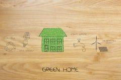 Σπίτι φιαγμένο από φύλλα δίπλα στα εικονίδια για τη ανανεώσιμη ενέργεια και sa Στοκ Φωτογραφίες