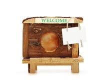 Σπίτι χάμστερ με ένα σημάδι για την ανακοίνωση Στοκ φωτογραφία με δικαίωμα ελεύθερης χρήσης