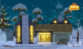 Σπίτι Χαρούμενα Χριστούγεννας Στοκ Φωτογραφία