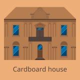 Σπίτι χαρτονιού Διάνυσμα επίπεδο σπίτι μικρό απεικόνιση αποθεμάτων