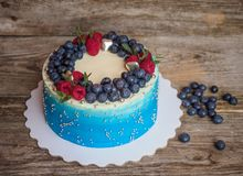 Σπίτι χλωμό - μπλε κέικ με τα βακκίνια και τα σμέουρα Στοκ εικόνα με δικαίωμα ελεύθερης χρήσης