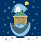 Σπίτι Χριστουγέννων στο κοχύλι Στοκ εικόνα με δικαίωμα ελεύθερης χρήσης