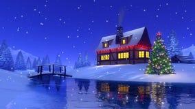 Σπίτι Χριστουγέννων στο χιονώδες έλατο δασικό Cinemagraph 4K διανυσματική απεικόνιση