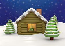 Σπίτι Χριστουγέννων - τρισδιάστατο Στοκ εικόνες με δικαίωμα ελεύθερης χρήσης