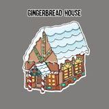 Σπίτι ψωμιού πιπεροριζών sticker Μικρό χαριτωμένο σπίτι μελοψωμάτων, με μια στέγη που καλύπτεται με το χιόνι και το φωτεινό φωτισ διανυσματική απεικόνιση