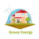 Σπίτι Eco Ηλιακή αιολική ενέργεια Πράσινη ενεργειακή έννοια Επίπεδο κτήριο σχεδίου οικολογίας Στοκ φωτογραφία με δικαίωμα ελεύθερης χρήσης