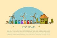 Σπίτι Eco με τη διανυσματική απεικόνιση δοχείων Στοκ Εικόνα