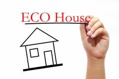 Σπίτι ECO - σπίτι με το κείμενο και αρσενικό χέρι με τη μάνδρα Στοκ φωτογραφίες με δικαίωμα ελεύθερης χρήσης