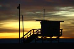 Σπίτι Lifeguard στο ηλιοβασίλεμα Στοκ Εικόνα