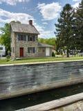 Σπίτι Locktender στην κλειδαριά #23, Walnutport, Πενσυλβανία, ΗΠΑ στοκ φωτογραφία με δικαίωμα ελεύθερης χρήσης