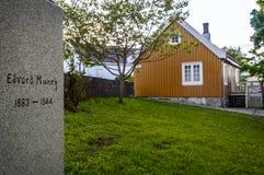 Σπίτι Munch Edvard και το μνημείο του στοκ φωτογραφίες με δικαίωμα ελεύθερης χρήσης