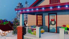Σπίτι Santas που διακοσμείται για τα Χριστούγεννα στενό επάνω 4K διανυσματική απεικόνιση