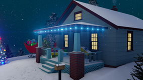 Σπίτι Santas που διακοσμείται για τα Χριστούγεννα τη νύχτα 4K ελεύθερη απεικόνιση δικαιώματος