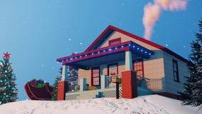 Σπίτι Santas που διακοσμείται για το βράδυ Χριστουγέννων 4K ελεύθερη απεικόνιση δικαιώματος