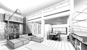 Σπίτι Wireframe Στοκ Εικόνα