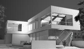 Σπίτι Wireframe Στοκ Εικόνες