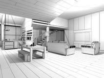 Σπίτι Wireframe Στοκ εικόνα με δικαίωμα ελεύθερης χρήσης