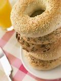 σπαρμένη bagels στοίβα Στοκ Φωτογραφίες