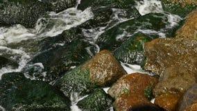 Σπασίματα κυμάτων για τους βράχους στη θάλασσα Μικρά κύματα και στρογγυλές πέτρες απόθεμα βίντεο