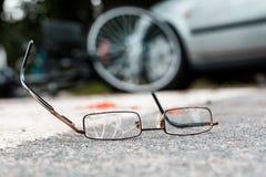 Σπασμένα γυαλιά ενός θύματος Στοκ Φωτογραφία