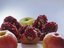 Σπασμένα ρόδι και μήλα σε ένα ελαφρύ υπόβαθρο Στοκ φωτογραφίες με δικαίωμα ελεύθερης χρήσης