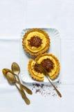 Σπασμένα Tarts επιδορπίων με τη στάρπη και τη σοκολάτα λεμονιών στοκ εικόνα