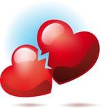 σπασμένες καρδιές δύο διανυσματική απεικόνιση