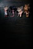 σπασμένες κούκλες Επίπεδος βάλτε Στοκ Φωτογραφία