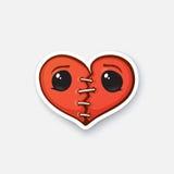 Σπασμένη αυτοκόλλητη ετικέττα καρδιά με τα μάτια διανυσματική απεικόνιση