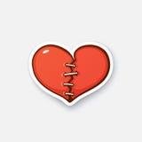 Σπασμένη αυτοκόλλητη ετικέττα καρδιά απεικόνιση αποθεμάτων