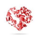 Σπασμένη καρδιά, κόκκινα τεμάχια έκρηξης ελεύθερη απεικόνιση δικαιώματος