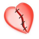 Σπασμένη καρδιά με τις βελονιές Στοκ Εικόνες