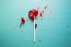 Σπασμένη καρδιά lollipop Στοκ Φωτογραφίες