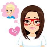 Σπασμένη κορίτσι καρδιά διανυσματική απεικόνιση