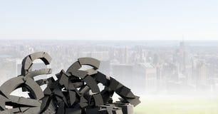 Σπασμένη συγκεκριμένη πέτρα με το ευρο- σύμβολο στη εικονική παράσταση πόλης Στοκ εικόνα με δικαίωμα ελεύθερης χρήσης