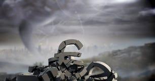 Σπασμένη συγκεκριμένη πέτρα με το ευρο- σύμβολο χρημάτων στη εικονική παράσταση πόλης Στοκ Φωτογραφίες