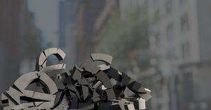 Σπασμένη συγκεκριμένη πέτρα με το ευρο- σύμβολο χρημάτων στη εικονική παράσταση πόλης Στοκ φωτογραφία με δικαίωμα ελεύθερης χρήσης