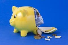 Σπασμένη τράπεζα Piggy Στοκ Εικόνα