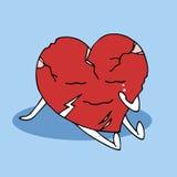 Σπασμένος βλαμμένος σύμβολο πόνος καρδιών το διανυσματικό χέρι που σύρεται που φωνάζει απεικόνιση αποθεμάτων