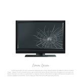 σπασμένος μηνύτορας υπολ Η οθόνη που ραγίζεται Χαλασμένη TV ελεύθερη απεικόνιση δικαιώματος