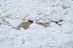 Σπασμένος πάγος κατά τη διάρκεια πάγωμα-επάνω Στοκ εικόνα με δικαίωμα ελεύθερης χρήσης