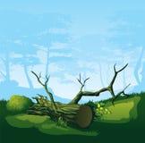 Σπασμένο δέντρο με μια κυρτή κορώνα διανυσματική απεικόνιση